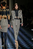 Katlin Aas walks the runway during the Balmain show Royalty Free Stock Photography