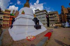 KATMANDOU, NÉPAL LE 15 OCTOBRE 2017 : Vue de soirée de stupa de Bodhnath - Katmandou - Népal, effet d'oeil de poissons Image libre de droits