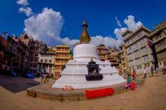 KATMANDOU, NÉPAL LE 15 OCTOBRE 2017 : Vue de soirée de stupa de Bodhnath - Katmandou - Népal, effet d'oeil de poissons Images libres de droits