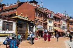 KATMANDOU, NÉPAL 28 MARS : Stupa de Boudhanath le 28 mars 2015 dedans Photographie stock