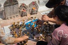 KATMANDOU, NÉPAL 28 MARS : Stupa de Boudhanath le 28 mars 2015 dedans Photo libre de droits