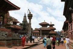 KATMANDU NEPAL - April 2012: Sikt av den Patan Durbar fyrkanten Royaltyfria Bilder