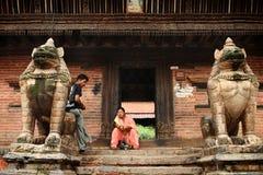 KATMANDU NEPAL - April 2012: Sikt av den Patan Durbar fyrkanten Arkivfoton