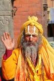 KATMANDU, NEPAL - 14 DE ENERO DE 2015: Retrato de un hombre de Sadhu Holy en el cuadrado de Durbar Fotos de archivo libres de regalías