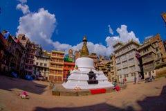 KATMANDU, NEPAL 15 DE OCTUBRE DE 2017: Opinión de la tarde del stupa de Bodhnath - Katmandu - Nepal, efecto del ojo de pescados Fotografía de archivo