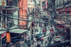 KATMANDU, NEPAL 05 02 2018: Een mening aan de gele bouw op mede stock foto's