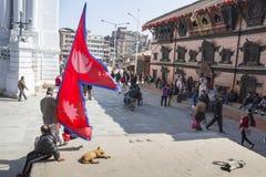 KATMANDU, NEPAL - FEBRUARI 10, 2015: Beroemde Durbar vierkant o Stock Foto