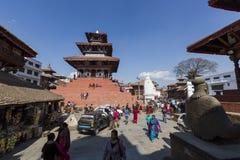 KATMANDU, NEPAL - FEBRUARI 10, 2015: Beroemde Durbar vierkant o Royalty-vrije Stock Fotografie
