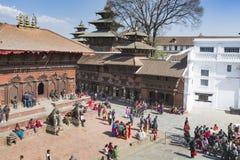 KATMANDU, NEPAL - FEBRUARI 10, 2015: Beroemde Durbar vierkant o Royalty-vrije Stock Afbeelding