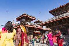 KATMANDU, NEPAL - FEBRUARI 10, 2015: Beroemde Durbar vierkant o Royalty-vrije Stock Afbeeldingen