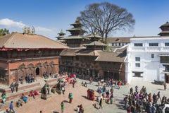 KATMANDU, NEPAL - FEBRUARI 10, 2015: Beroemde Durbar vierkant o Royalty-vrije Stock Foto's