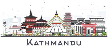 Katmandu Nepal horisont med Gray Buildings Isolated på vit stock illustrationer