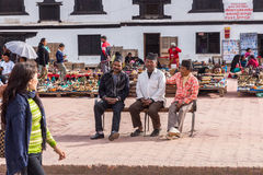 KATMANDU NEPAL-MARCH 16: Durbar fyrkant på mars 16, 2015 i Ka Royaltyfria Foton