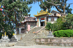 Katmandu, Nepal, monasterio budista en el complejo del templo de Swayambhunath (colina del mono) Fotos de archivo