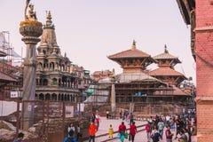Katmandu, Nepal - 26,2018 Oct: De Patantempel, het Vierkant van Patan Durbar is gesitueerd op het centrum van Lalitpur, Nepal Het stock fotografie