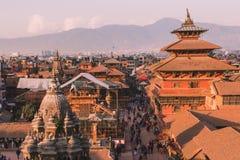 Katmandu, Nepal - 26,2018 Oct: De Patantempel, het Vierkant van Patan Durbar is gesitueerd op het centrum van Lalitpur, Nepal Het royalty-vrije stock afbeelding