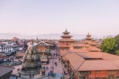 Katmandu Nepal - Oktober 26,2018: Den Patan templet, den Patan Durbar fyrkanten placeras på mitten av Lalitpur, Nepal Det är ett  arkivfoton