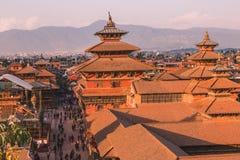 Katmandu Nepal - Oktober 26,2018: Den Patan templet, den Patan Durbar fyrkanten placeras på mitten av Lalitpur, Nepal Det är ett  royaltyfria bilder