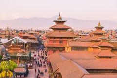 Katmandu Nepal - Oktober 26,2018: Den Patan templet, den Patan Durbar fyrkanten placeras på mitten av Lalitpur, Nepal Det är ett  royaltyfri fotografi
