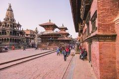 Katmandu Nepal - Oktober 26,2018: Den Patan templet, den Patan Durbar fyrkanten placeras på mitten av Lalitpur, Nepal Det är ett  arkivbilder