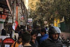 Katmandu, Nepal, overvolle straat, mensen Royalty-vrije Stock Fotografie