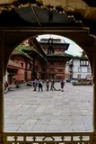 Katmandu Nepal - September 20, 2016: Turister i nasala Chowk C Fotografering för Bildbyråer