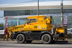 KATO Crane MR-100 of ST Construction Company. CHIANG MAI, THAILAND -JANUARY 22 2018: KATO Crane MR-100 of ST Construction Company. Photo at road no 121 about 8 stock photography