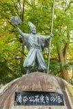 Kato Kiyomasa-standbeeld bij het Kasteel van Nagoya stock foto