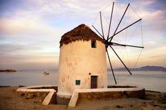 Kato Mili on Mykonos. Kato Mili (the lower wind mills) at Chora near Little Venice on the Mykonos island in Greece stock photography