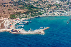 Kato Paphos city and port aerial view. Aerial view of the city of Paphos in Cyprus including the harbor royalty free stock photos