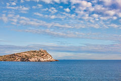 Kato Sounio. And Poseidon's Temple in Attiki region, Greece seen from a distance stock images