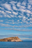Kato Sounio. And Poseidon's Temple in Attiki region, Greece seen from a distance royalty free stock photography