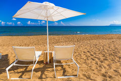 Kato Stalos-strand, Chania-prefectuur, Westelijk Kreta, Griekenland royalty-vrije stock foto's