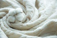 Katoenen bloem op beige gebreide plaid met textuur en patroon, hand - gemaakte en comfortabele zacht stock foto's