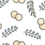 Katoenen van beeldverhaaleco vriendschappelijk stootkussens en bladeren leuk naadloos patroon Ga het groene leven royalty-vrije illustratie