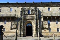 Katoliccy monarchowie szpitale, Santiago De Compostela, Hiszpania Plateresque stylowa fasada przy Placem Del Obradoiro blisko do  obraz stock