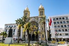 Katolicka katedra St Vincent De Paul w kapitale Tunis Fotografia Stock
