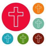 Katolik ikon okręgu przecinający set ilustracja wektor