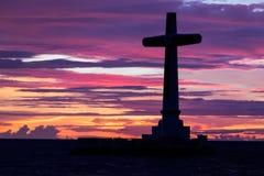 Katolik przecinająca sylwetka obrazy stock