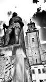 Katolsk domkyrka Konstnärlig blick i svartvitt Royaltyfri Bild