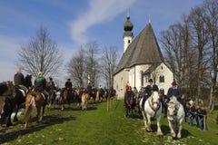 katolsk hästprocession Arkivbild