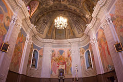 Katolsk kyrka av Cargese, Corse, Frankrike Fotografering för Bildbyråer
