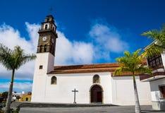 Katolsk kyrka Buenavista del Norte, Tenerife, kanariefågelöar Royaltyfri Foto