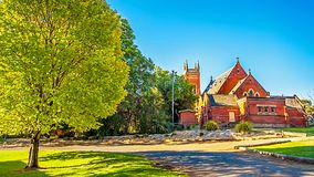 Katolsk kyrka för St-Mel` s i Narrandera Australien Royaltyfri Foto