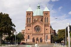 katolsk kyrka Helgon-Pierre-le-Jeune i Strasbourg royaltyfri fotografi