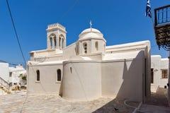 Katolsk kyrka i den Naxos ön, Cyclades Arkivbild