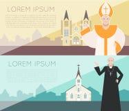Katolsk kyrkabaner Arkivbild