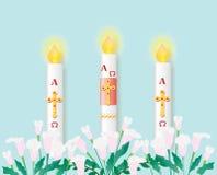 Katolsk påsk- stearinljus med bränningen vektor illustrationer