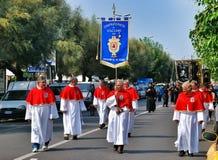 Katolsk religiös festival på September 27 i Civitavecchia Arkivfoto