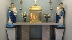 Katolska skulpturer i brasiliansk kyrka royaltyfria foton